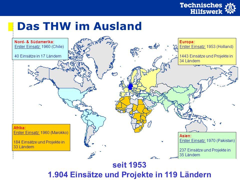 www.thw.de Nord- & Südamerika: Erster Einsatz: 1960 (Chile) 40 Einsätze in 17 Ländern Afrika: Erster Einsatz: 1960 (Marokko) 184 Einsätze und Projekte