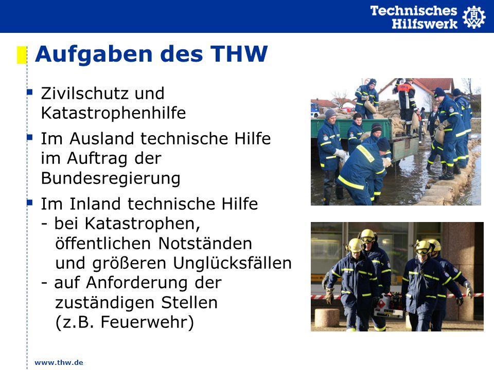 www.thw.de Aufgaben des THW Zivilschutz und Katastrophenhilfe Im Ausland technische Hilfe im Auftrag der Bundesregierung Im Inland technische Hilfe -