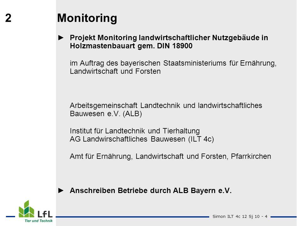 Simon ILT 4c 12 Sj 10 - 4 2Monitoring Projekt Monitoring landwirtschaftlicher Nutzgebäude in Holzmastenbauart gem. DIN 18900 im Auftrag des bayerische