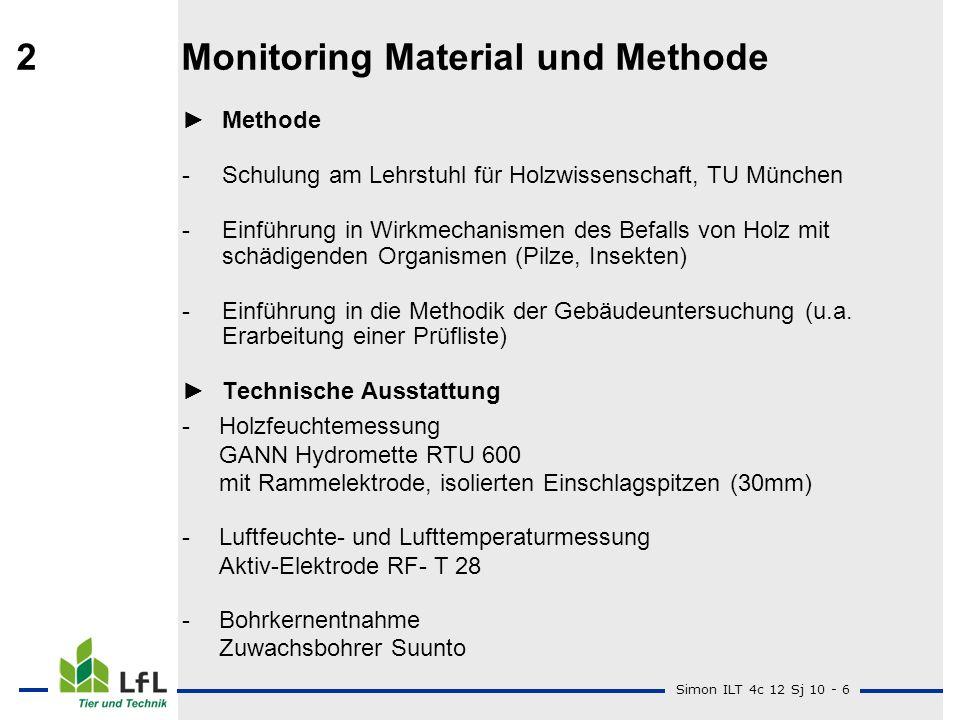 Simon ILT 4c 12 Sj 10 - 6 2Monitoring Material und Methode Methode -Schulung am Lehrstuhl für Holzwissenschaft, TU München -Einführung in Wirkmechanis
