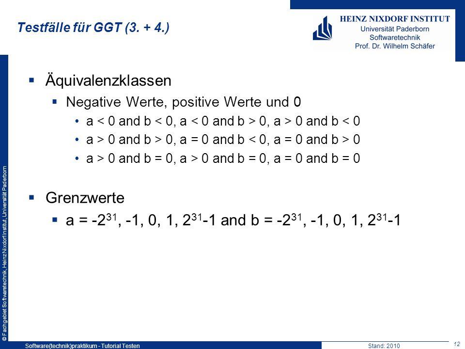 © Fachgebiet Softwaretechnik, Heinz Nixdorf Institut, Universität Paderborn Testfälle für GGT (3. + 4.) 12 Software(technik)praktikum - Tutorial Teste