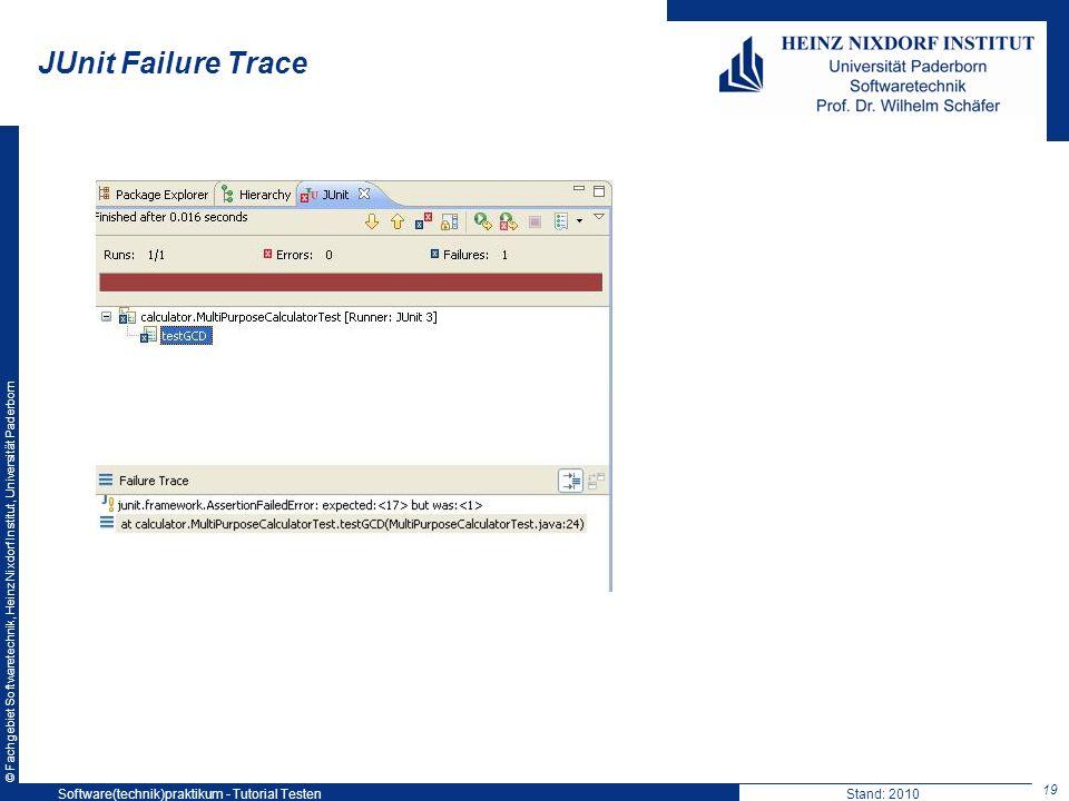 © Fachgebiet Softwaretechnik, Heinz Nixdorf Institut, Universität Paderborn JUnit Failure Trace 19 Software(technik)praktikum - Tutorial TestenStand: