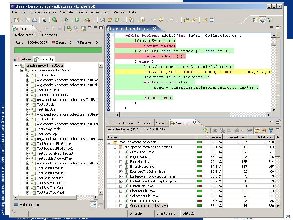 © Fachgebiet Softwaretechnik, Heinz Nixdorf Institut, Universität Paderborn 25 Software(technik)praktikum - Tutorial TestenStand: 2010