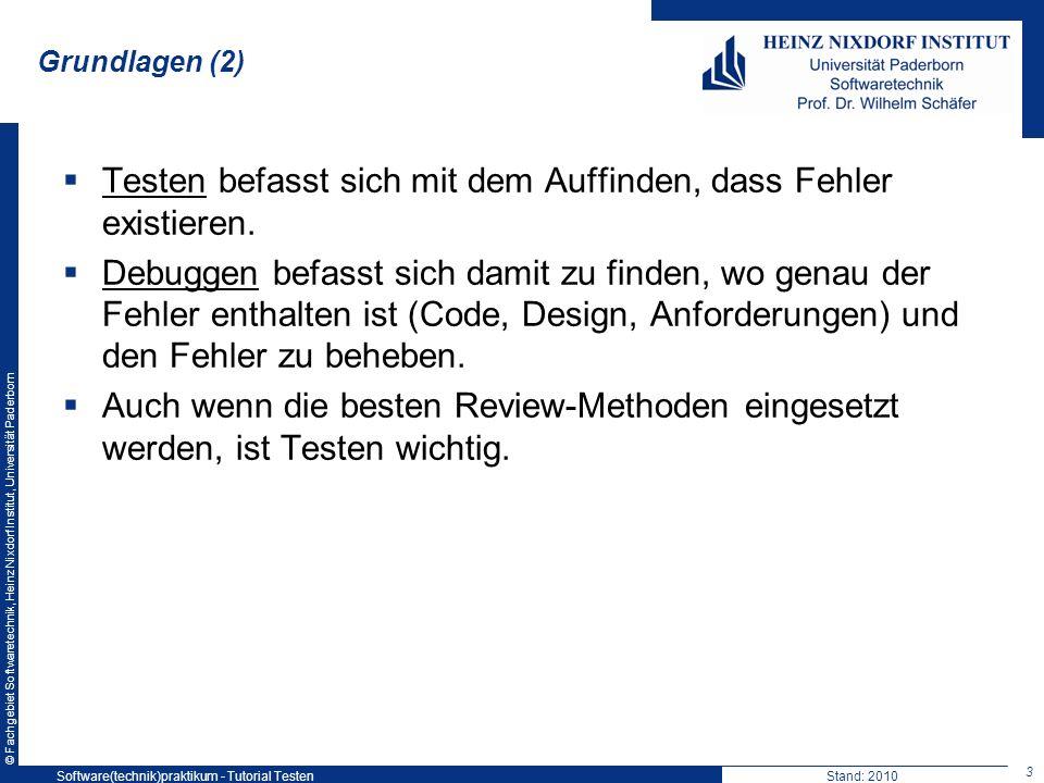 © Fachgebiet Softwaretechnik, Heinz Nixdorf Institut, Universität Paderborn Grundlagen (2) Testen befasst sich mit dem Auffinden, dass Fehler existier