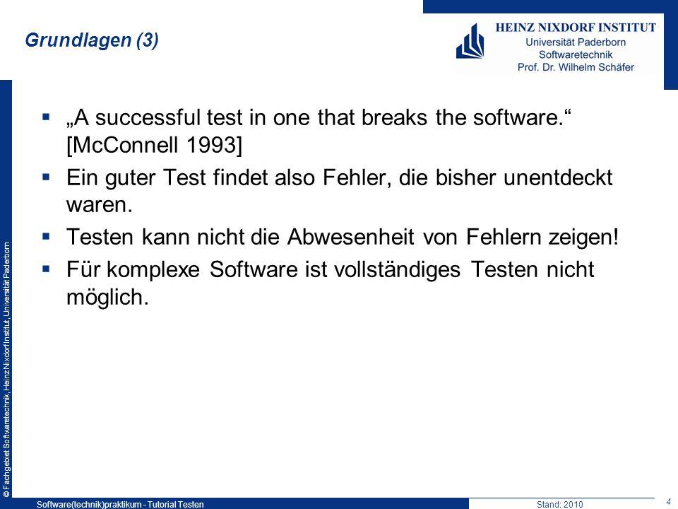 © Fachgebiet Softwaretechnik, Heinz Nixdorf Institut, Universität Paderborn Grundlagen (3) A successful test in one that breaks the software. [McConne