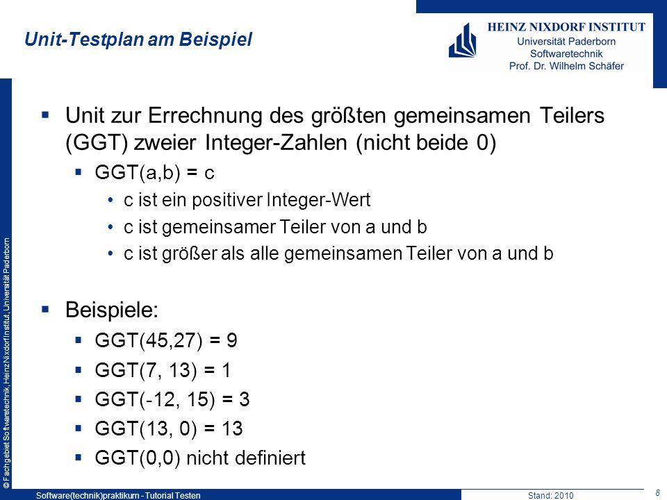 © Fachgebiet Softwaretechnik, Heinz Nixdorf Institut, Universität Paderborn Unit-Testplan am Beispiel Unit zur Errechnung des größten gemeinsamen Teil