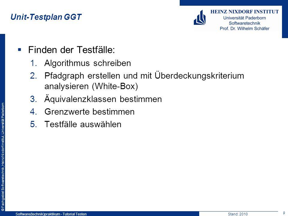 © Fachgebiet Softwaretechnik, Heinz Nixdorf Institut, Universität Paderborn Unit-Testplan GGT Finden der Testfälle: 1.Algorithmus schreiben 2.Pfadgrap