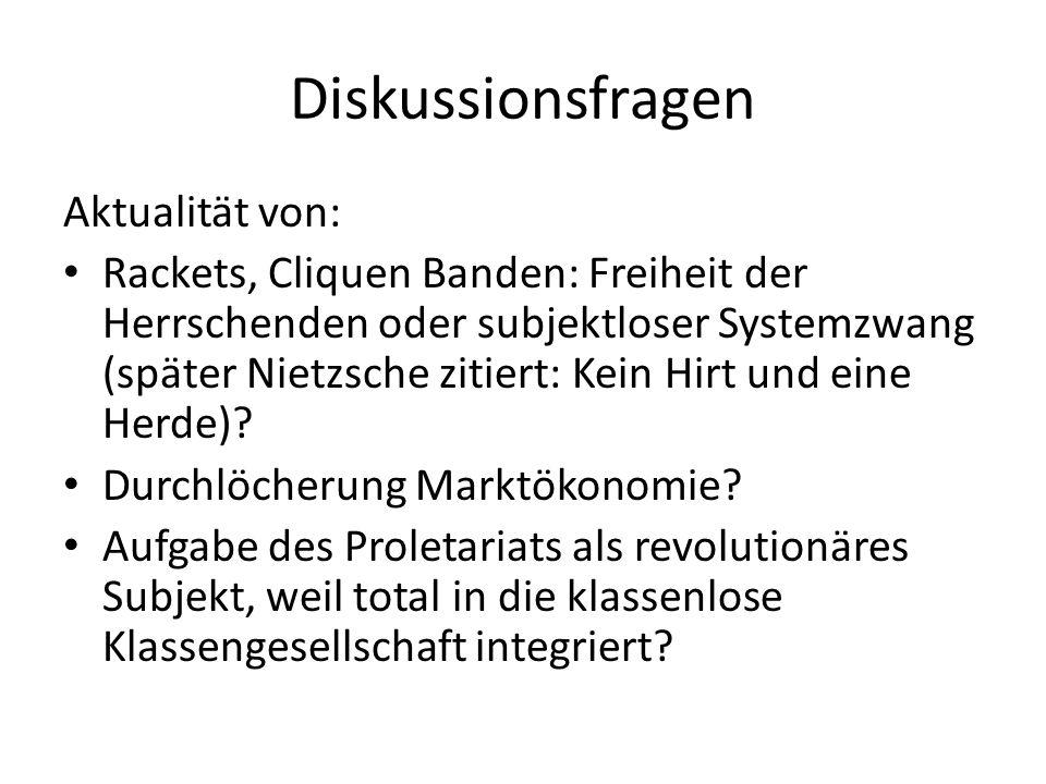 Diskussionsfragen Aktualität von: Rackets, Cliquen Banden: Freiheit der Herrschenden oder subjektloser Systemzwang (später Nietzsche zitiert: Kein Hir