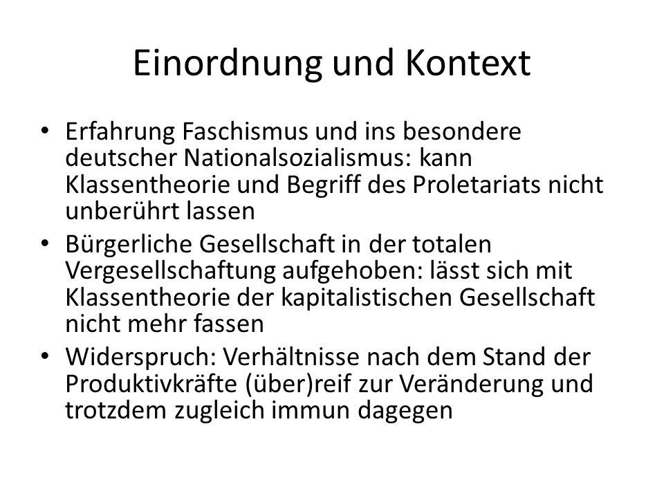 Einordnung und Kontext Erfahrung Faschismus und ins besondere deutscher Nationalsozialismus: kann Klassentheorie und Begriff des Proletariats nicht un