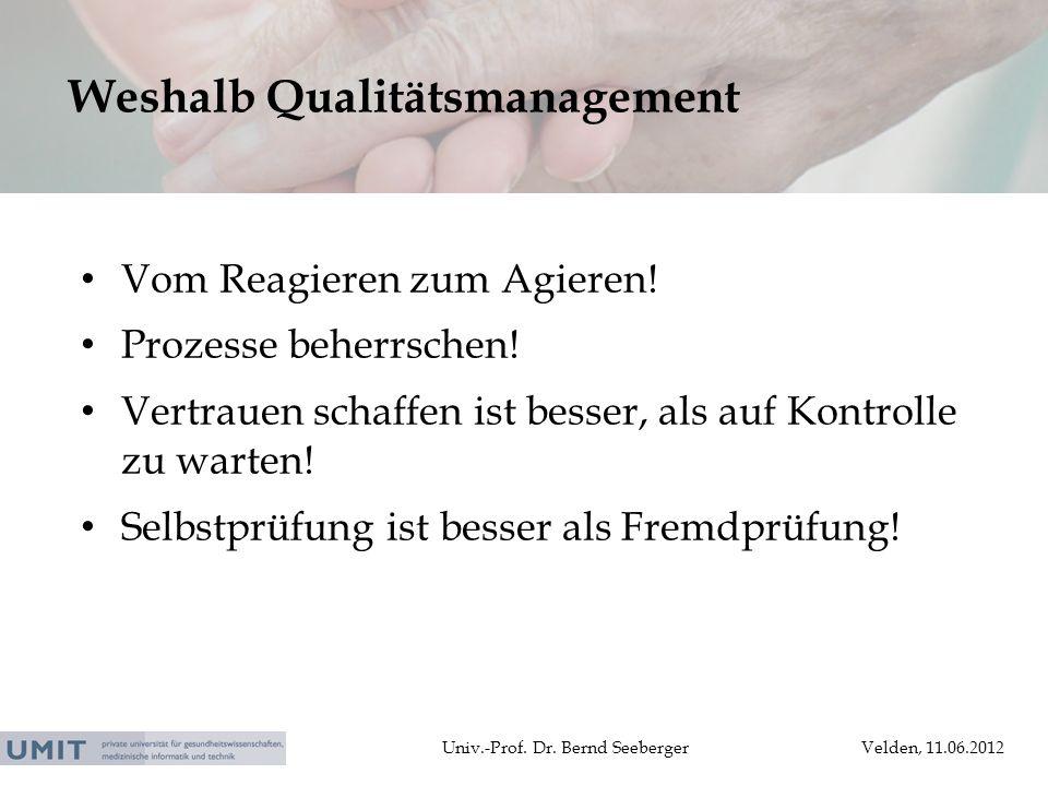 Univ.-Prof. Dr. Bernd SeebergerVelden, 11.06.2012 Vom Reagieren zum Agieren! Prozesse beherrschen! Vertrauen schaffen ist besser, als auf Kontrolle zu