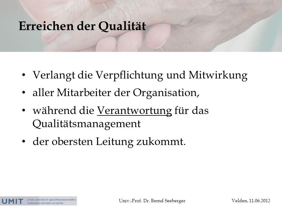 Univ.-Prof. Dr. Bernd SeebergerVelden, 11.06.2012 Verlangt die Verpflichtung und Mitwirkung aller Mitarbeiter der Organisation, während die Verantwort