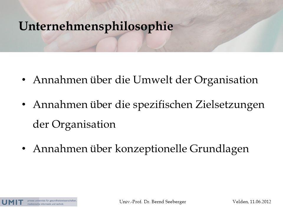 Univ.-Prof. Dr. Bernd SeebergerVelden, 11.06.2012 Annahmen über die Umwelt der Organisation Annahmen über die spezifischen Zielsetzungen der Organisat