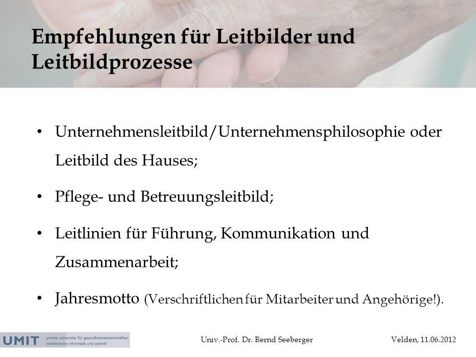 Univ.-Prof. Dr. Bernd SeebergerVelden, 11.06.2012 Unternehmensleitbild/Unternehmensphilosophie oder Leitbild des Hauses; Pflege- und Betreuungsleitbil