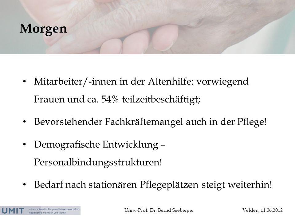 Univ.-Prof. Dr. Bernd SeebergerVelden, 11.06.2012 Mitarbeiter/-innen in der Altenhilfe: vorwiegend Frauen und ca. 54% teilzeitbeschäftigt; Bevorstehen