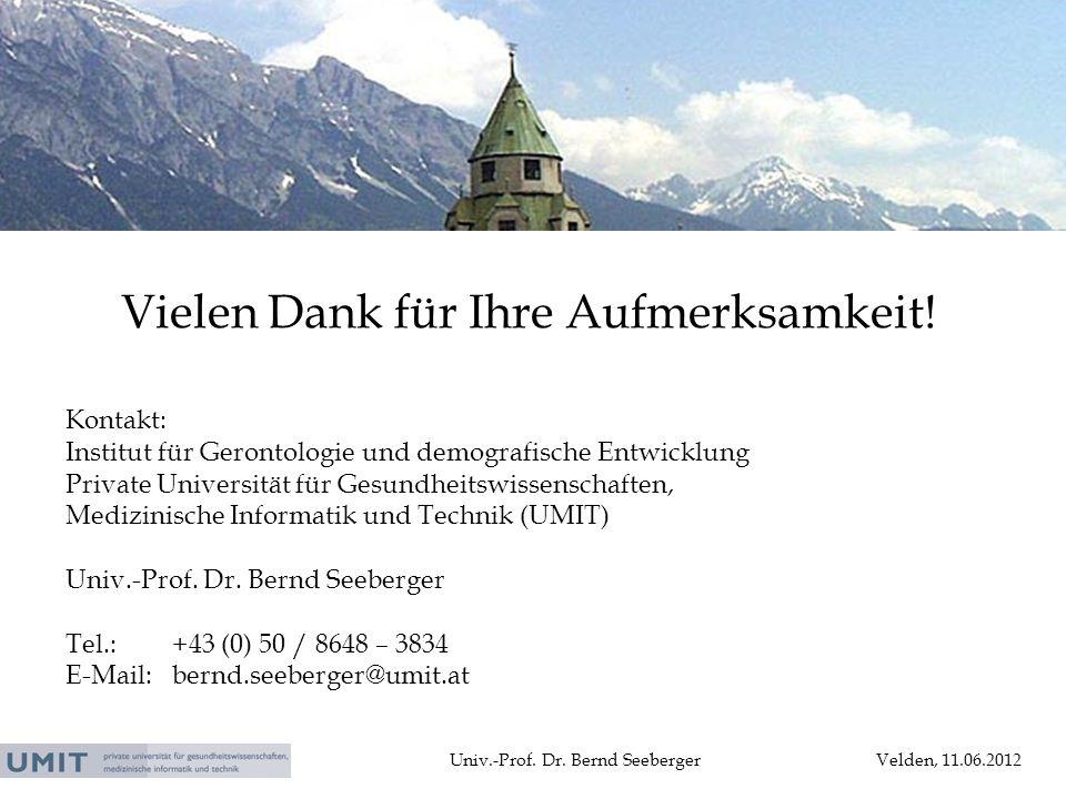 Univ.-Prof. Dr. Bernd SeebergerVelden, 11.06.2012 Vielen Dank für Ihre Aufmerksamkeit! Kontakt: Institut für Gerontologie und demografische Entwicklun