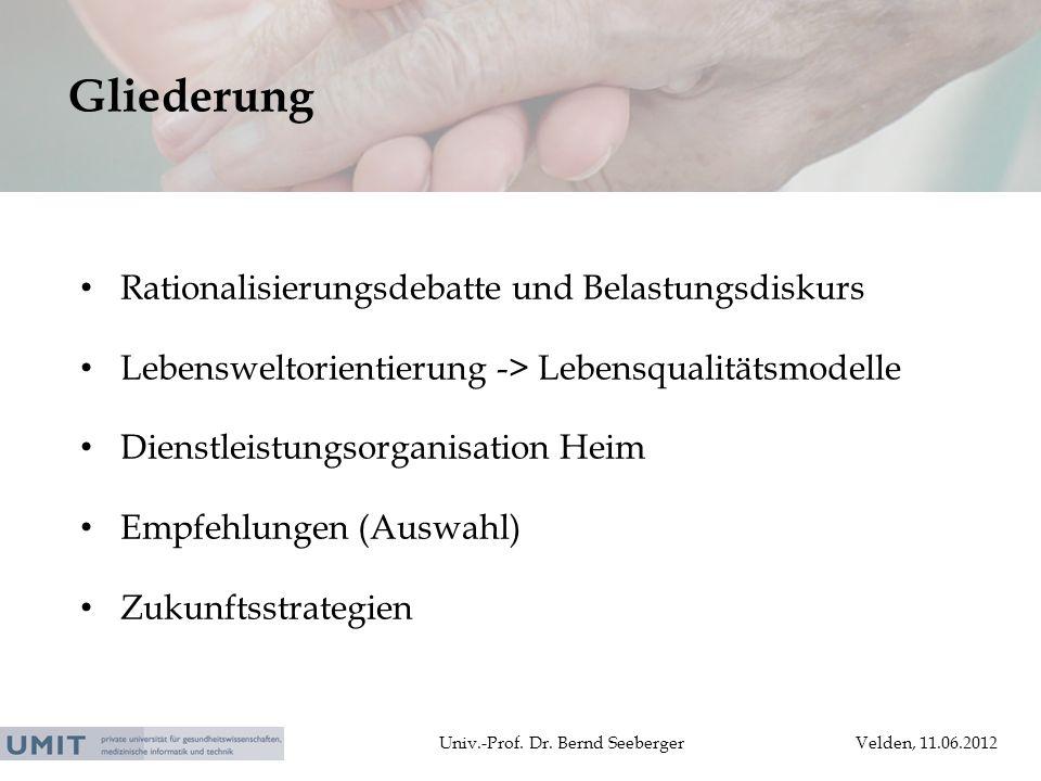 Univ.-Prof. Dr. Bernd SeebergerVelden, 11.06.2012 Rationalisierungsdebatte und Belastungsdiskurs Lebensweltorientierung -> Lebensqualitätsmodelle Dien