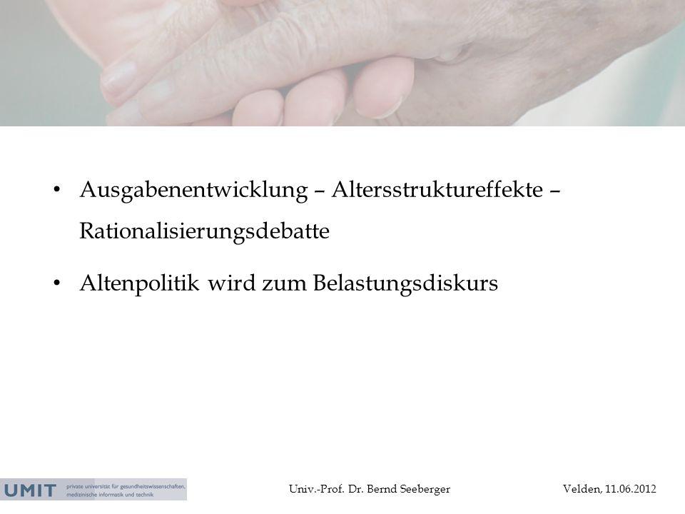 Univ.-Prof. Dr. Bernd SeebergerVelden, 11.06.2012 Ausgabenentwicklung – Altersstruktureffekte – Rationalisierungsdebatte Altenpolitik wird zum Belastu