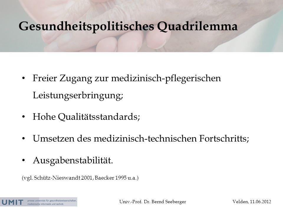 Univ.-Prof. Dr. Bernd SeebergerVelden, 11.06.2012 Freier Zugang zur medizinisch-pflegerischen Leistungserbringung; Hohe Qualitätsstandards; Umsetzen d