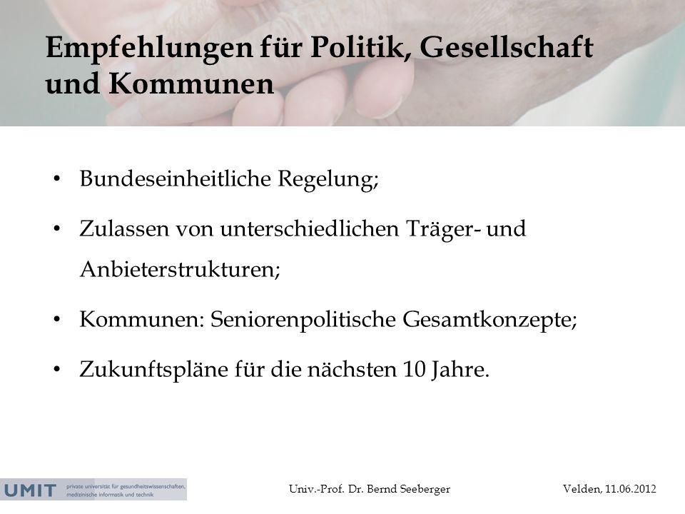 Univ.-Prof. Dr. Bernd SeebergerVelden, 11.06.2012 Bundeseinheitliche Regelung; Zulassen von unterschiedlichen Träger- und Anbieterstrukturen; Kommunen