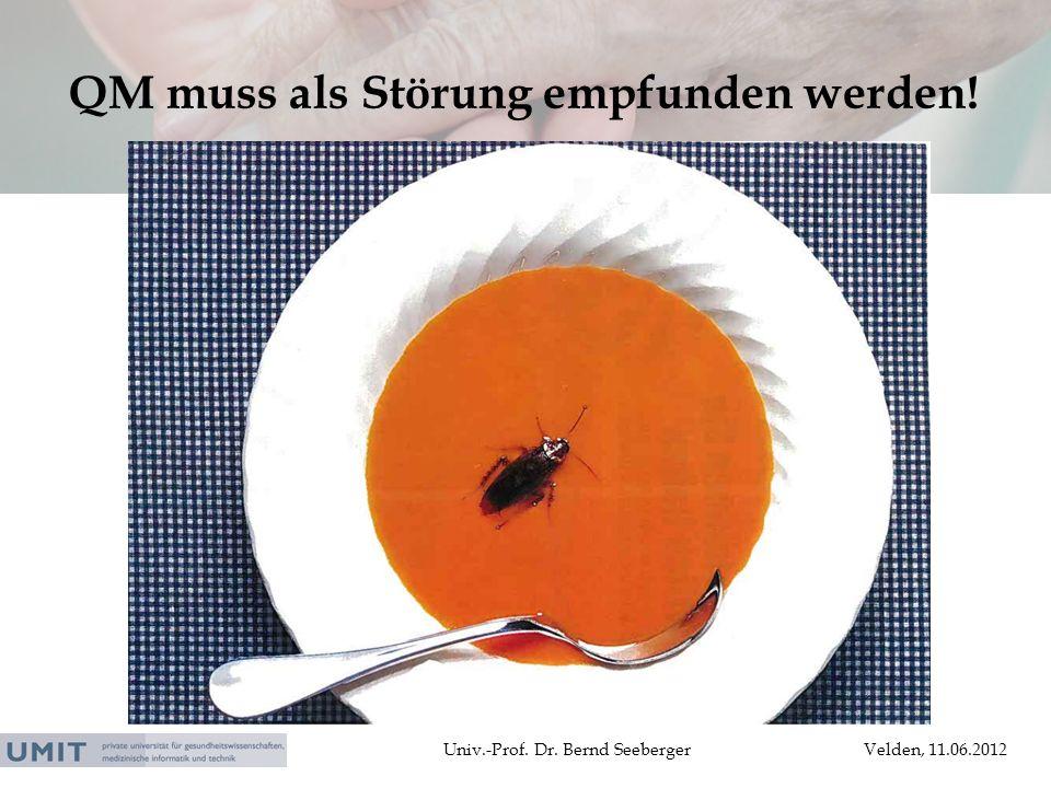 Univ.-Prof. Dr. Bernd SeebergerVelden, 11.06.2012 QM muss als Störung empfunden werden!