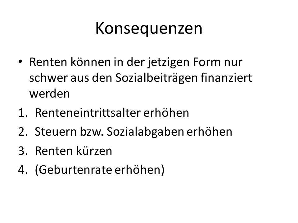 Konsequenzen Renten können in der jetzigen Form nur schwer aus den Sozialbeiträgen finanziert werden 1.Renteneintrittsalter erhöhen 2.Steuern bzw.