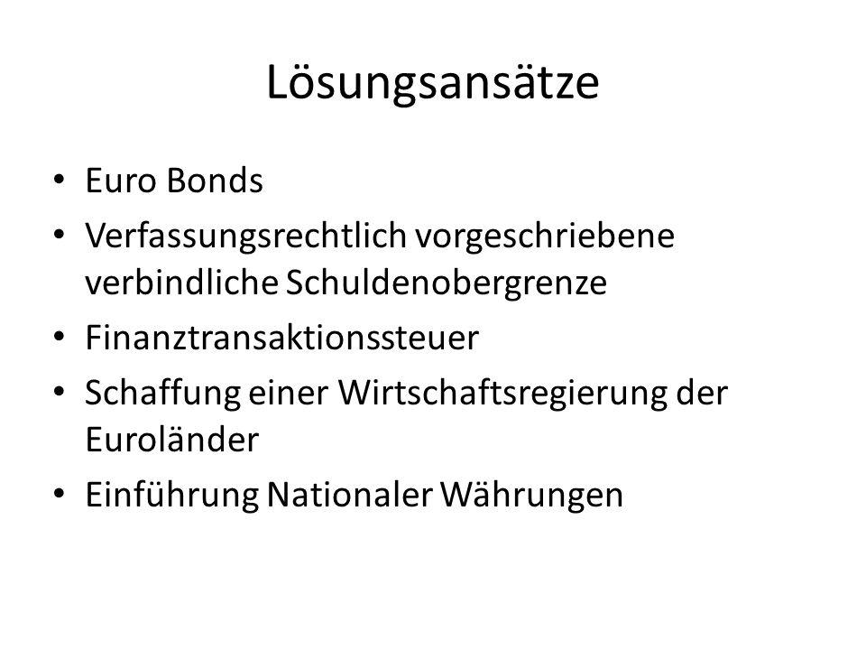 Lösungsansätze Euro Bonds Verfassungsrechtlich vorgeschriebene verbindliche Schuldenobergrenze Finanztransaktionssteuer Schaffung einer Wirtschaftsregierung der Euroländer Einführung Nationaler Währungen