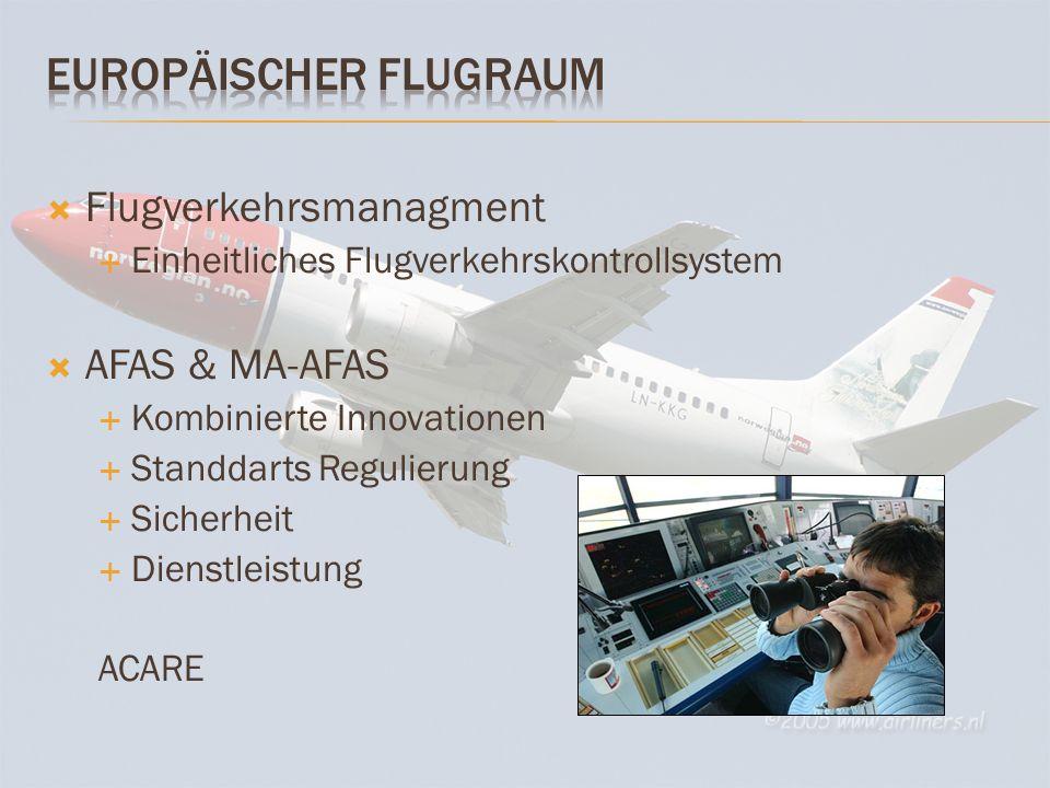 Flugverkehrsmanagment Einheitliches Flugverkehrskontrollsystem AFAS & MA-AFAS Kombinierte Innovationen Standdarts Regulierung Sicherheit Dienstleistung ACARE