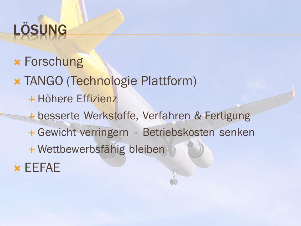 Forschung TANGO (Technologie Plattform) Höhere Effizienz besserte Werkstoffe, Verfahren & Fertigung Gewicht verringern – Betriebskosten senken Wettbewerbsfähig bleiben EEFAE