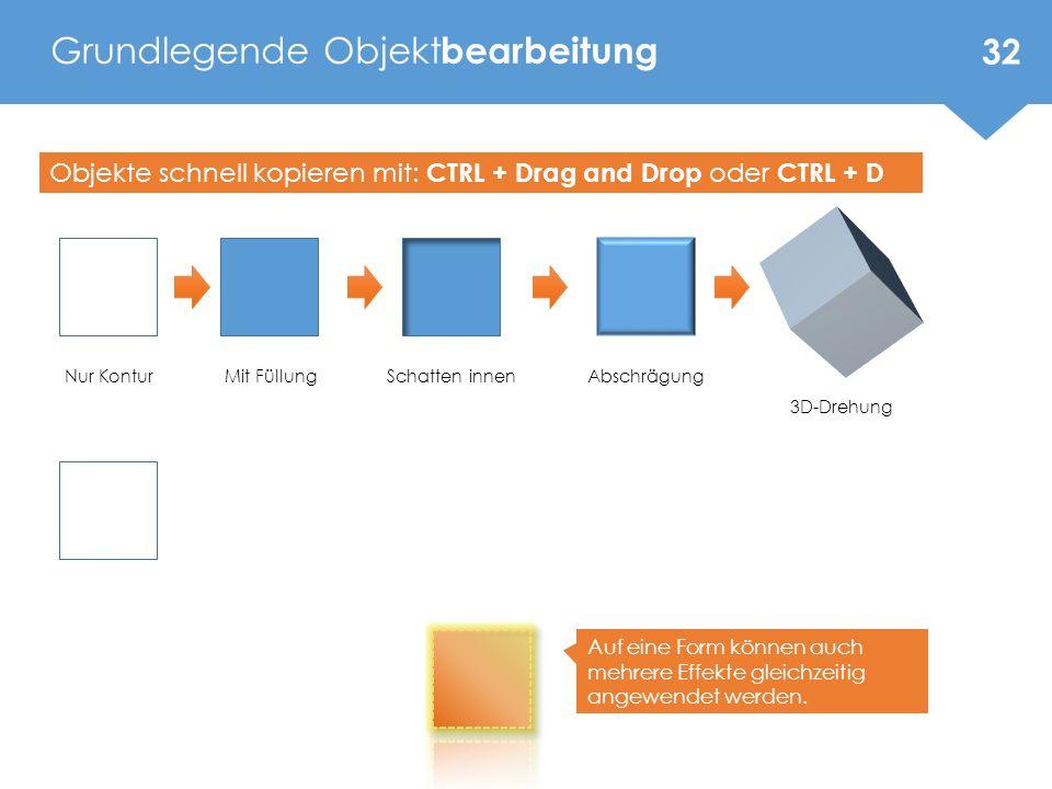 Grundlegende Objekt bearbeitung 32 73 – 76 Mit FüllungNur KonturSchatten innenAbschrägung 3D-Drehung Objekte schnell kopieren mit: CTRL + Drag and Drop oder CTRL + D Auf eine Form können auch mehrere Effekte gleichzeitig angewendet werden.
