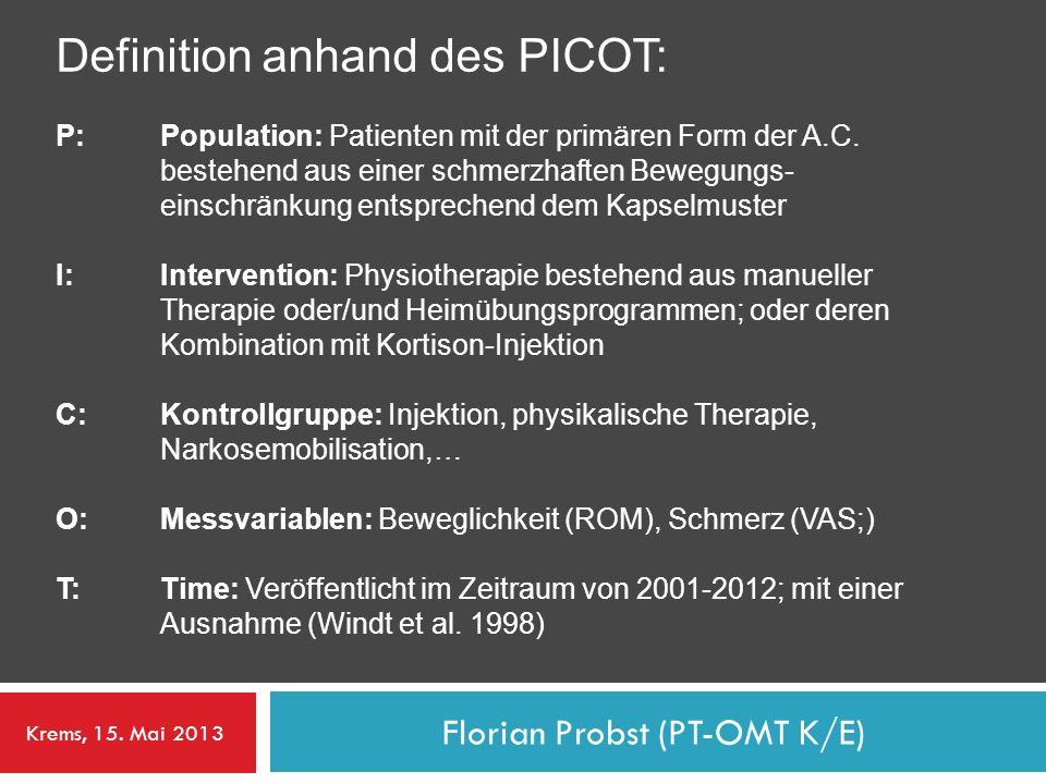 Definition anhand des PICOT: P:Population: Patienten mit der primären Form der A.C. bestehend aus einer schmerzhaften Bewegungs- einschränkung entspre
