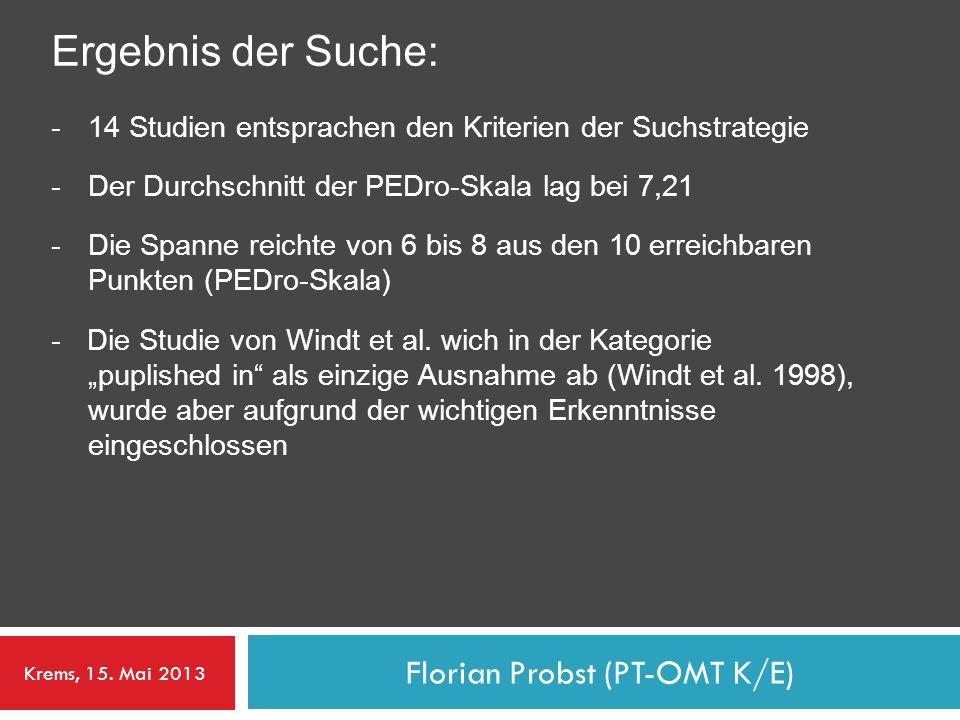 Florian Probst (PT-OMT K/E) Ergebnis der Suche: -14 Studien entsprachen den Kriterien der Suchstrategie -Der Durchschnitt der PEDro-Skala lag bei 7,21