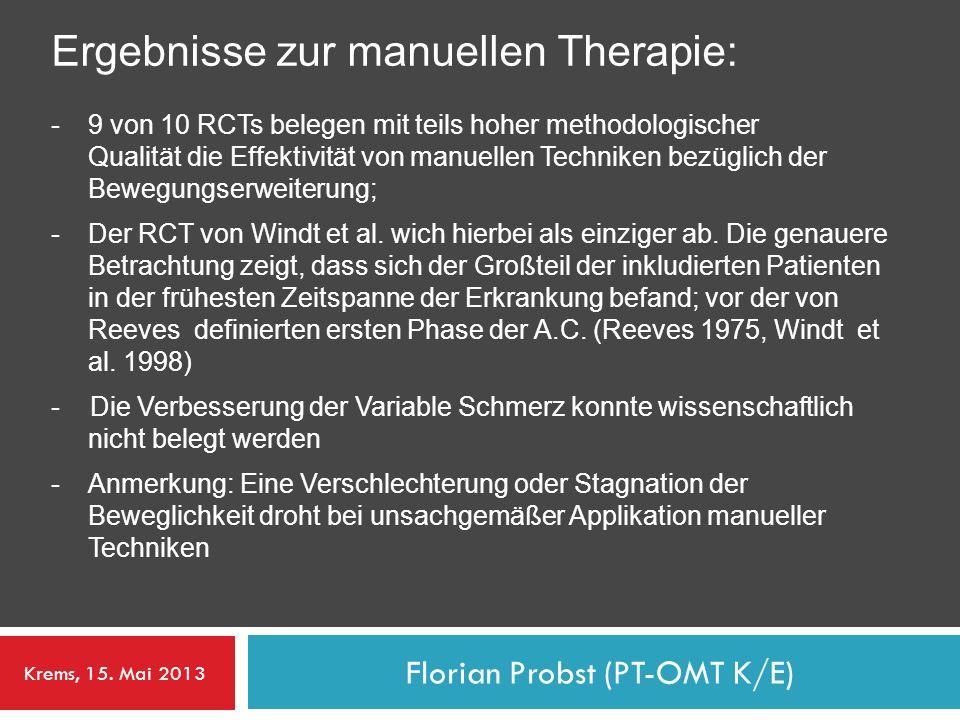 Florian Probst (PT-OMT K/E) Ergebnisse zur manuellen Therapie: -9 von 10 RCTs belegen mit teils hoher methodologischer Qualität die Effektivität von m