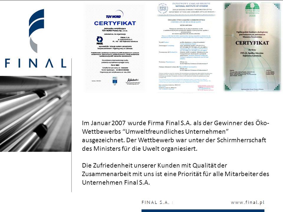 Im Januar 2007 wurde Firma Final S.A. als der Gewinner des Öko- Wettbewerbs Umweltfreundliches Unternehmen ausgezeichnet. Der Wettbewerb war unter der