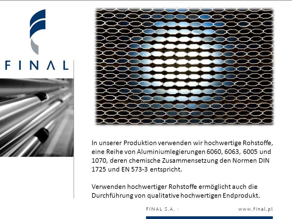In unserer Produktion verwenden wir hochwertige Rohstoffe, eine Reihe von Aluminiumlegierungen 6060, 6063, 6005 und 1070, deren chemische Zusammensetz