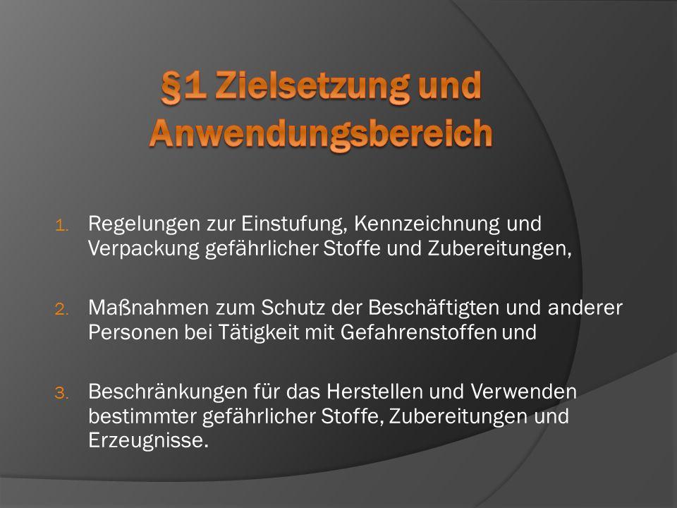 1. Regelungen zur Einstufung, Kennzeichnung und Verpackung gefährlicher Stoffe und Zubereitungen, 2. Maßnahmen zum Schutz der Beschäftigten und andere