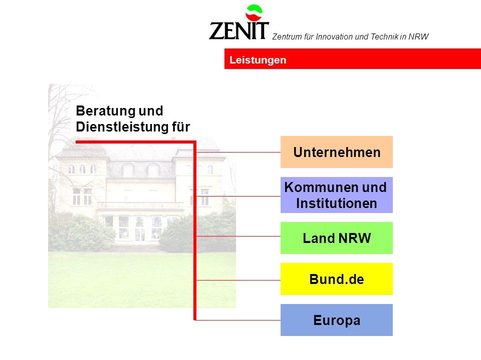 Zentrum für Innovation und Technik in NRW Leistungen Beratung und Dienstleistung für Land NRW Unternehmen Europa Bund.de Kommunen und Institutionen