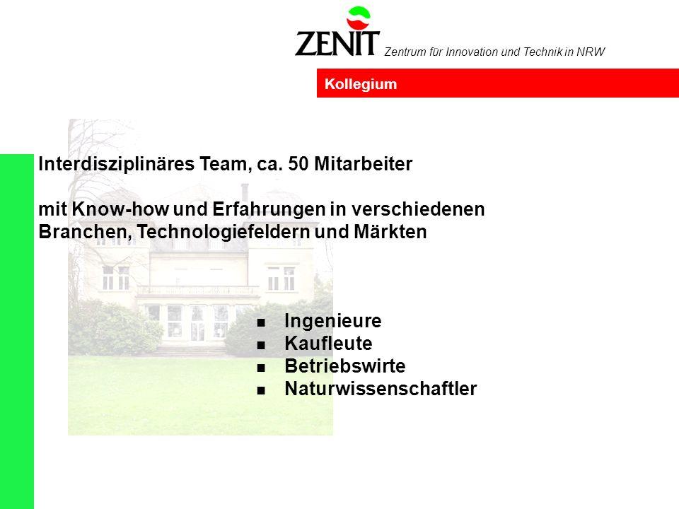 Zentrum für Innovation und Technik in NRW Kollegium Ingenieure Kaufleute Betriebswirte Naturwissenschaftler Interdisziplinäres Team, ca.