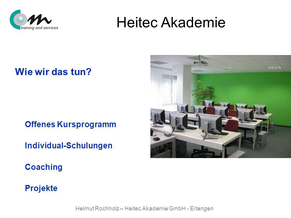 Helmut Rochholz – Heitec Akademie GmbH - Erlangen Heitec Akademie Wie wir das tun? Offenes Kursprogramm Individual-Schulungen Coaching Projekte