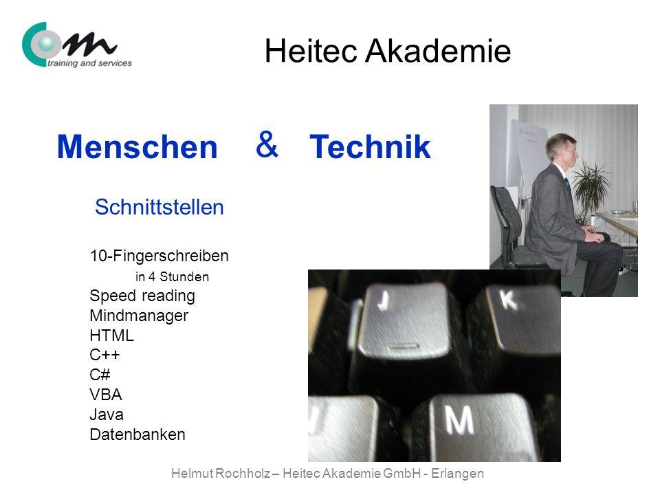 Helmut Rochholz – Heitec Akademie GmbH - Erlangen Menschen Technik & Heitec Akademie 10-Fingerschreiben in 4 Stunden Speed reading Mindmanager HTML C+