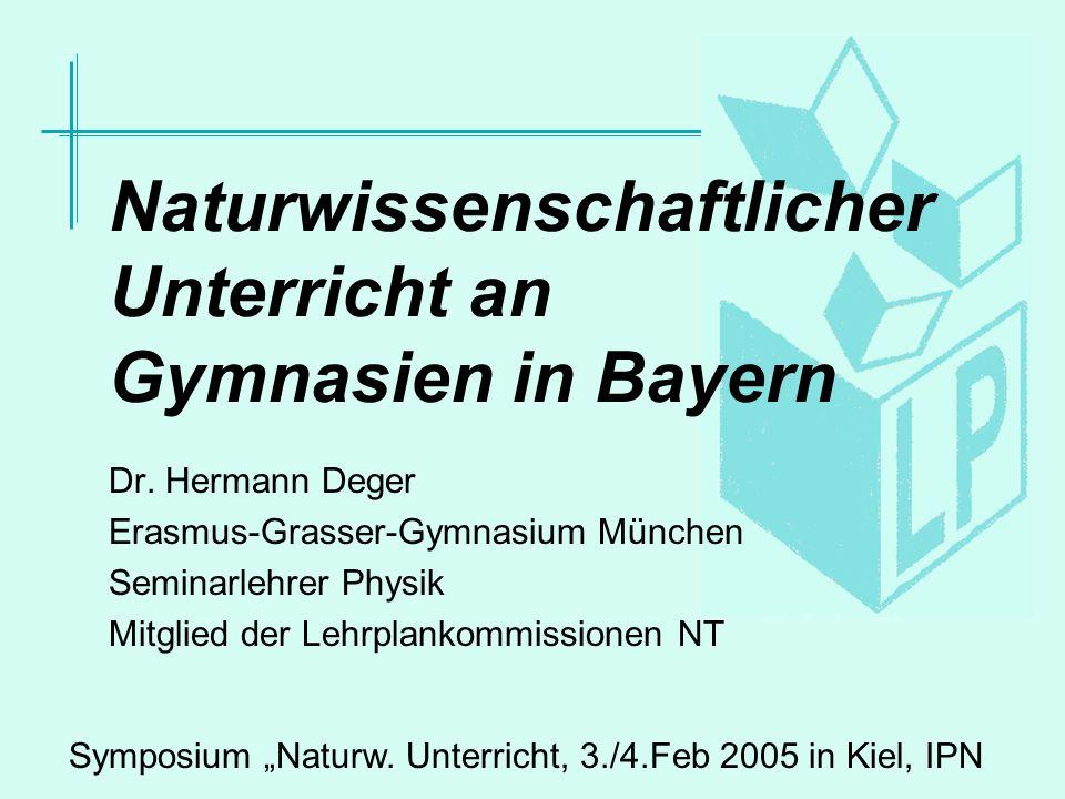 Dr.Hermann Deger, Lehrplan-Kommissionen Natur und Technik12 Teilung der Klassen.