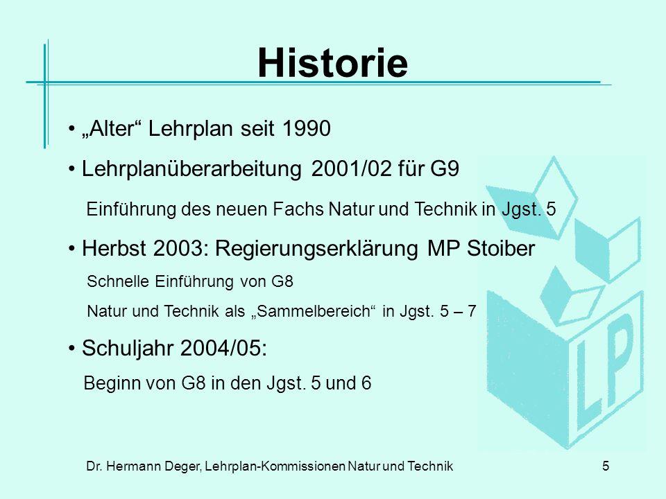 Dr.Hermann Deger, Lehrplan-Kommissionen Natur und Technik16 Lehrplan NT, 5.