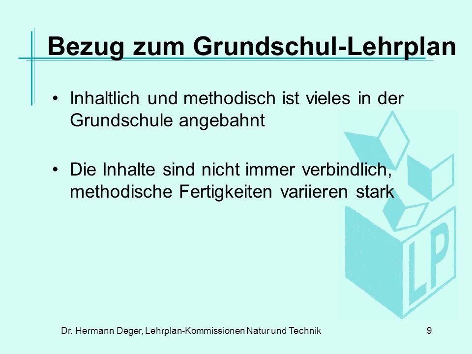 Dr.Hermann Deger, Lehrplan-Kommissionen Natur und Technik20 Schwerpkt.