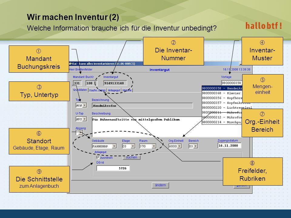 hallobtf! gmbh / Kai-Inventarisierungstag 2010 / Seite 12 Wir machen Inventur (2) Welche Information brauche ich für die Inventur unbedingt? Mandant B