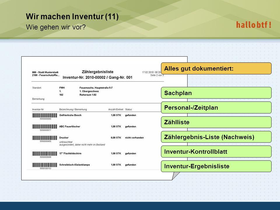 hallobtf! gmbh / Kai-Inventarisierungstag 2010 / Seite 21 Wir machen Inventur (11) Wie gehen wir vor? Alles gut dokumentiert: Sachplan Personal-/Zeitp