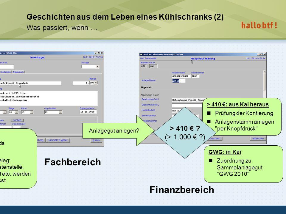 hallobtf! gmbh / Kai-Inventarisierungstag 2010 / Seite 24 Geschichten aus dem Leben eines Kühlschranks (2) Was passiert, wenn … Anlagegut anlegen? Fac