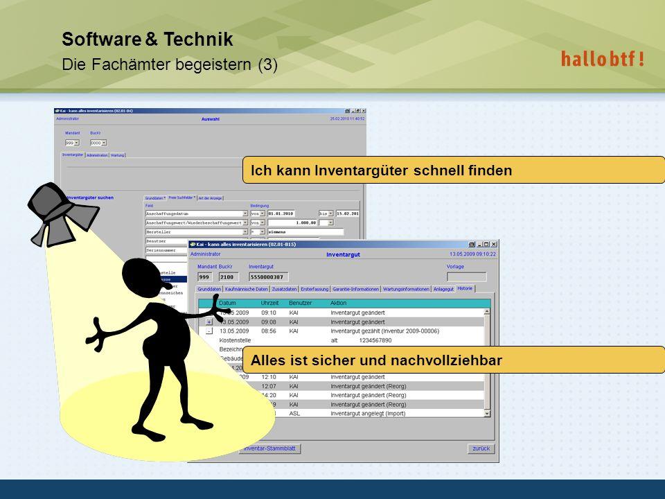hallobtf! gmbh / Kai-Inventarisierungstag 2010 / Seite 36 Software & Technik Die Fachämter begeistern (3) Ich kann Inventargüter schnell finden Alles