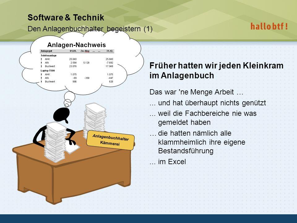 hallobtf! gmbh / Kai-Inventarisierungstag 2010 / Seite 38 Anlagen-Nachweis Software & Technik Den Anlagenbuchhalter begeistern (1) Früher hatten wir j
