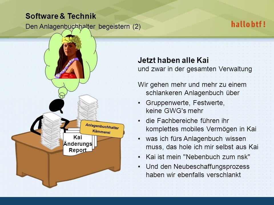 hallobtf! gmbh / Kai-Inventarisierungstag 2010 / Seite 39 Software & Technik Den Anlagenbuchhalter begeistern (2) Jetzt haben alle Kai und zwar in der