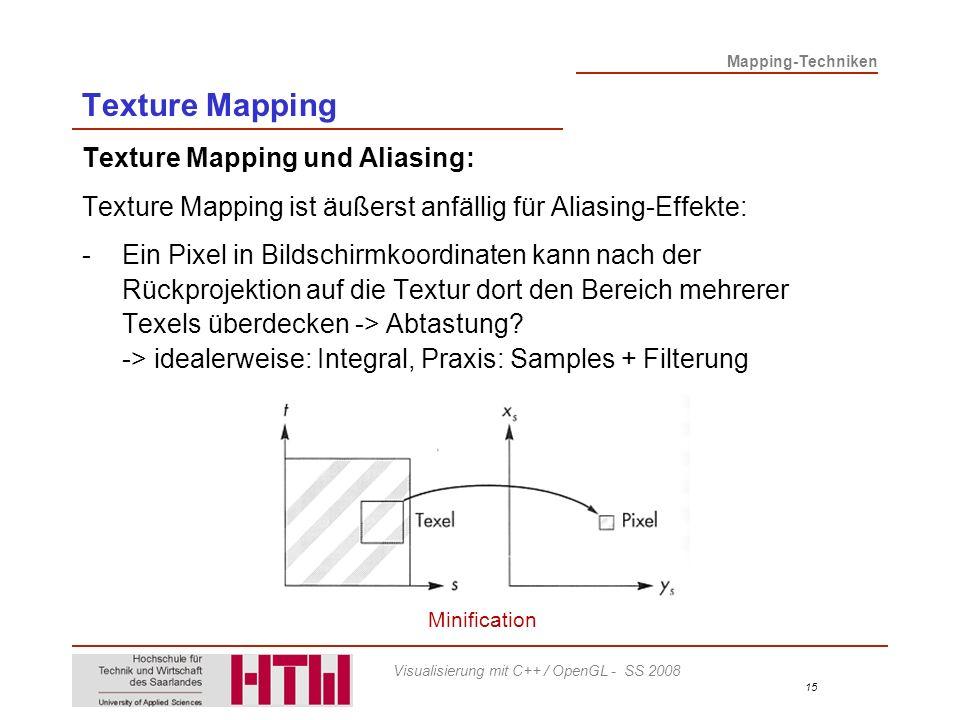 Mapping-Techniken 15 Visualisierung mit C++ / OpenGL - SS 2008 Texture Mapping Texture Mapping und Aliasing: Texture Mapping ist äußerst anfällig für Aliasing-Effekte: -Ein Pixel in Bildschirmkoordinaten kann nach der Rückprojektion auf die Textur dort den Bereich mehrerer Texels überdecken -> Abtastung.
