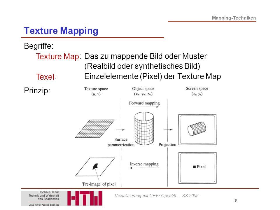 Mapping-Techniken 6 Visualisierung mit C++ / OpenGL - SS 2008 Texture Mapping Begriffe: Texture Map:Das zu mappende Bild oder Muster (Realbild oder synthetisches Bild) Texel:Einzelelemente (Pixel) der Texture Map Prinzip: Texture Map Texel